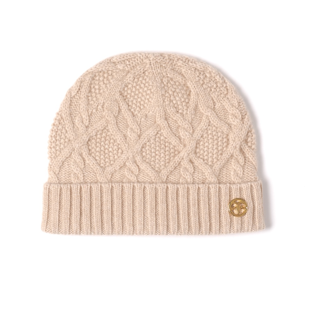 f0ef90b38cf Cable knitted organic cashmere hat beige