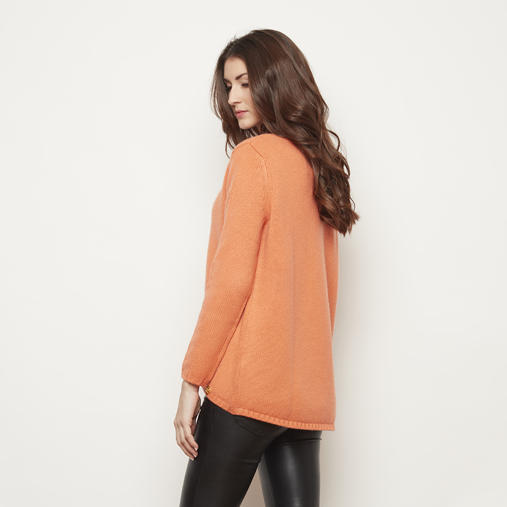 Oversize orange cashmere sweater | Bel cashmere